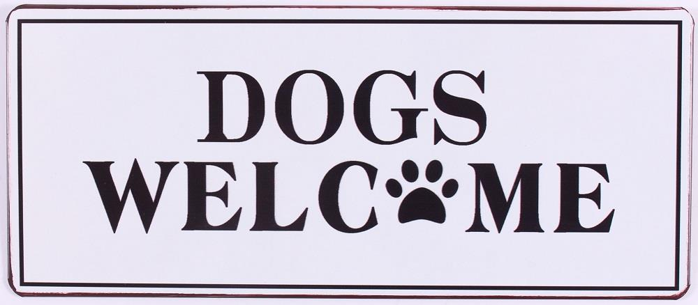 TEKSTBORD DOGS WELCOME
