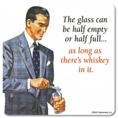 RETRO COASTER GLASS HALF EMPTY