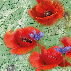 SERVIETTEN POPPIES GREEN