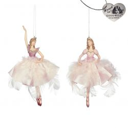 KERSTORNAMENT PINK FEATHER BALLERINA
